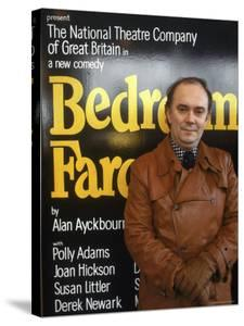 """British Playwright Alan Ayckbourn Standing Before Broadway Poster of His Comedy """"Bedroom Farce."""" by Ted Thai"""