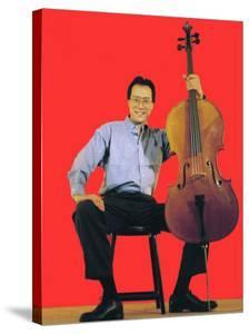 Classical Cellist Yo-Yo Ma Sitting with Cello in Smiling, Full Length Portrait by Ted Thai
