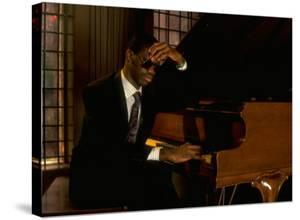 Jazz Pianist Marcus Roberts Seated at Piano in Henley Park Hotel by Ted Thai