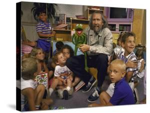 """Jim Henson with Muppet, Kids at Jim Henson Productions Townhouse, Promote """"Reading is Fundamental"""" by Ted Thai"""