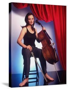 Russian Cellist Nina Kotova in Casual Full Length Portrait with Her Cello by Ted Thai