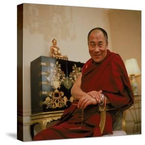 Tibetan Spiritual Leader in Exile Dalai Lama in Smiling Portrait by Ted Thai