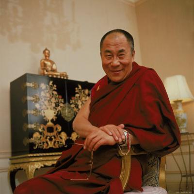 Tibetan Spiritual Leader in Exile Dalai Lama in Smiling Portrait by Ted Thai