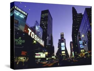 View Showing Buildings and Electric Signs in Times Square Seen from Duffy Square by Ted Thai