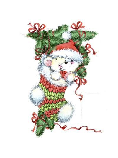 Teddy Bear in a Christmas Stocking-ZPR Int'L-Giclee Print