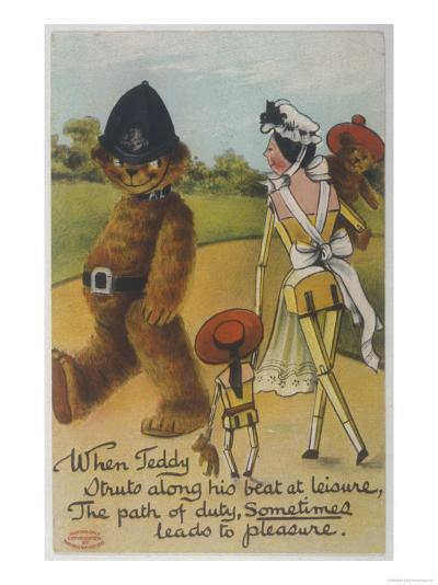 Teddy Bear Policeman Eyes Nurse, Who is Carrying Another Teddy--Giclee Print