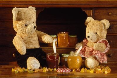 Teddy Bear with Honey and Jam--Photographic Print