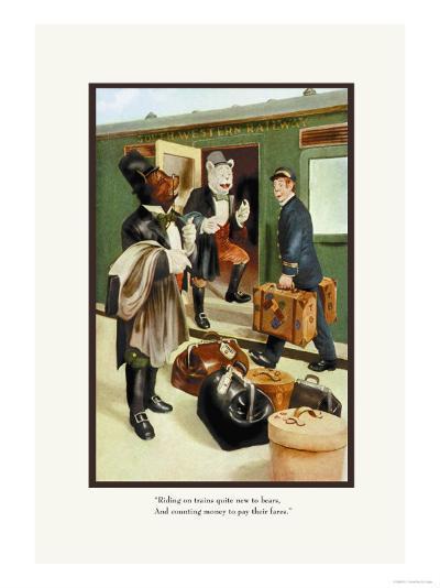 Teddy Roosevelt's Bears: Teddy B and Teddy G Riding Trains-R.k. Culver-Art Print
