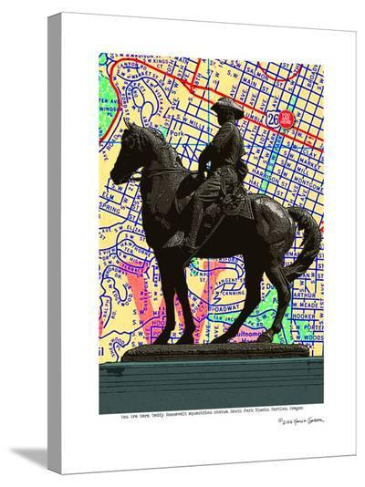 Teddy Roosevelt Statue Portland--Stretched Canvas Print
