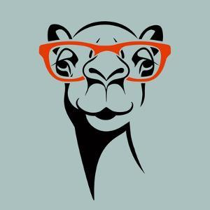 Funny Camel Wearing Glasses. Vector Illustration for T Shirt, Poster, Print Design. by TeddyandMia