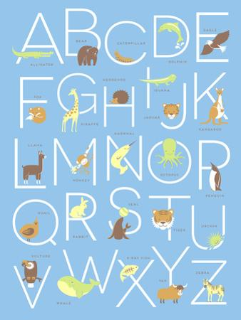 Illustrated Animal Alphabet ABC Poster Design
