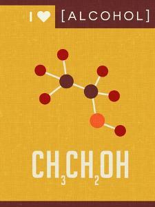Retro Scientific Poster Banner Illustration of the Molecular Formula and Structure of Alcohol by TeddyandMia
