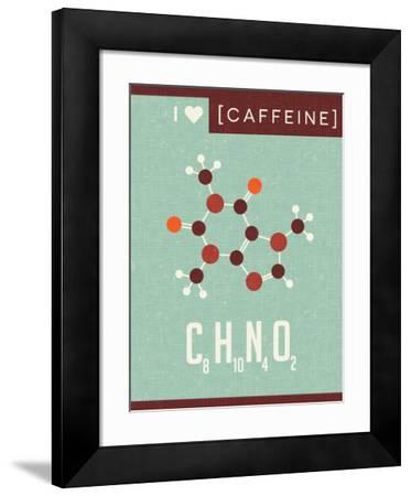 Retro Scientific Poster Banner Illustration of the Molecular Formula and Structure of Caffeine