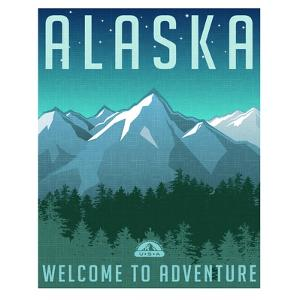 Retro Style Travel Poster or Sticker. United States, Alaska Mountain Landscape. by TeddyandMia