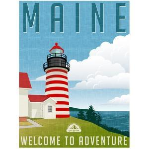 Retro Style Travel Poster or Sticker. United States, Maine Lighthouse. by TeddyandMia