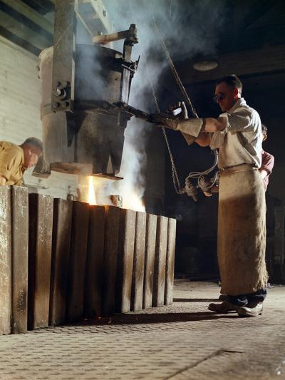Teeming Iron into Ingots, J Beardshaw and Sons, Sheffield, South Yorkshire, 1963-Michael Walters-Photographic Print