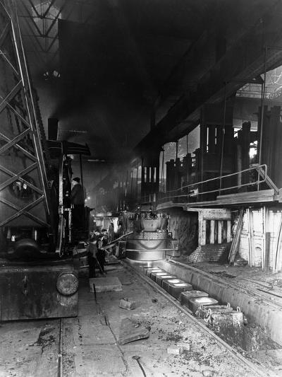 Teeming (Pouring) Molten Steel, Park Gate Iron and Steel Co, Rotherham, South Yorkshire, April 1955-Michael Walters-Photographic Print
