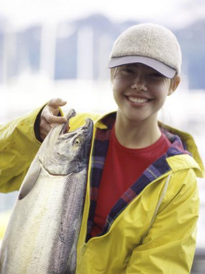 Teen Girl Holding a Fish--Photographic Print