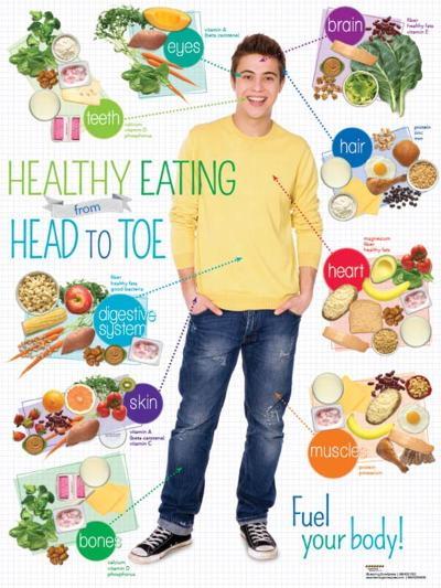 Teen Healthy Eating Head to Toe Poster--Laminated Poster
