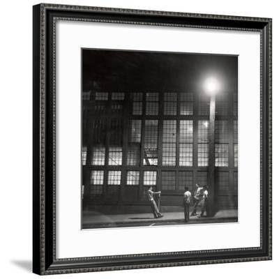 Teenage Boys Whiling Away a Summer Night on the Street-Gordon Parks-Framed Premium Photographic Print