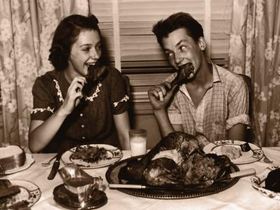 Teenage Girl and Boy (15-17) Eating Turkey Dinner--Photographic Print