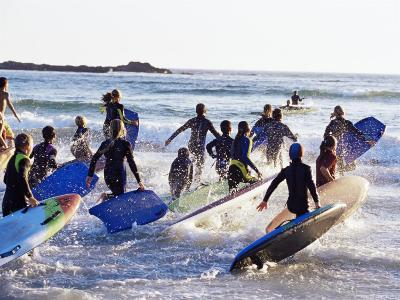Teenage Surfers Running with Their Boards Towards the Water at a Life Saving Competition-Yadid Levy-Photographic Print