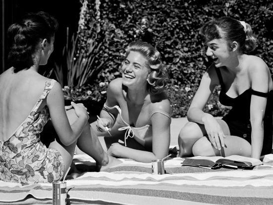 Teenager Suzie Slattery and Freinds Enjoying a Pool Party-Yale Joel-Photographic Print