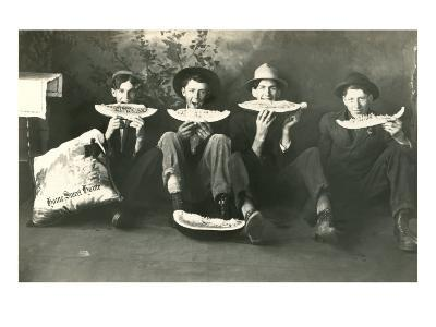 Teenagers Eating Watermelon--Art Print
