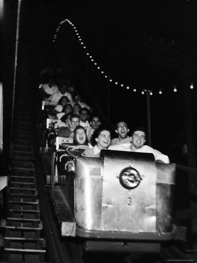 Teenagers in Rollercoaster at Night-Gordon Parks-Photographic Print
