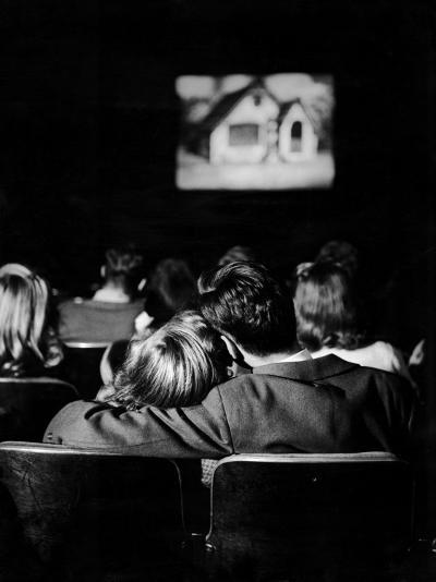 """Teenagers """"Necking"""" in a Movie Theater-Nina Leen-Photographic Print"""