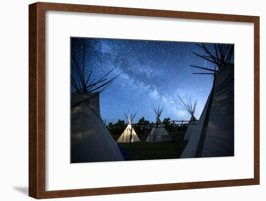 Teepees Under The Milky Way On The Apsaalooke, Or The Crow American Indian Reservation-Jonathan Kingston-Framed Photographic Print