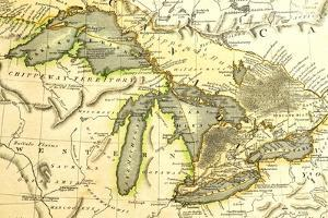 1795 Map Of The Great Lakes by Tektite