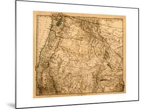 Old Map Of The Us Pacific Northwest by Tektite