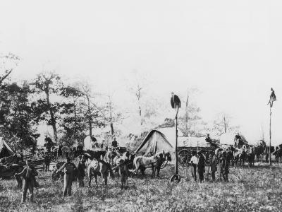 Telegraph Construction Camp During the American Civil War, 1861-1865--Photographic Print
