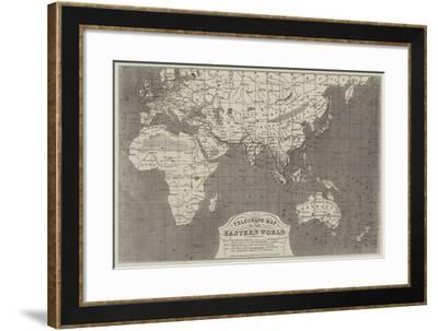 Telegraph Map of the Eastern World-John Dower-Framed Giclee Print