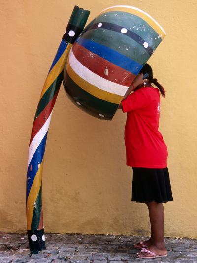 Telephone Booth in Shape of Sounding Gourd of Berimbau (Capoeira Instrument)-Rick Gerharter-Photographic Print