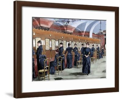 Telephone Service in Madrid. Central Office.-Tarker-Framed Giclee Print