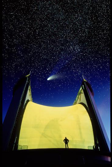 Telescope & Comet Hale-Bopp-David Nunuk-Photographic Print