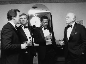 Television News Broadcasters Peter Jennings, Tom Brokaw, Bernard Shaw and Walter Cronkite