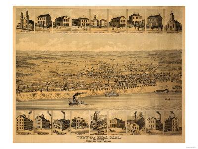 Tell City, Indiana - Panoramic Map-Lantern Press-Art Print