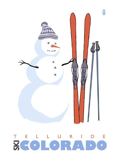 Telluride, Colorado, Snowman with Skis-Lantern Press-Art Print