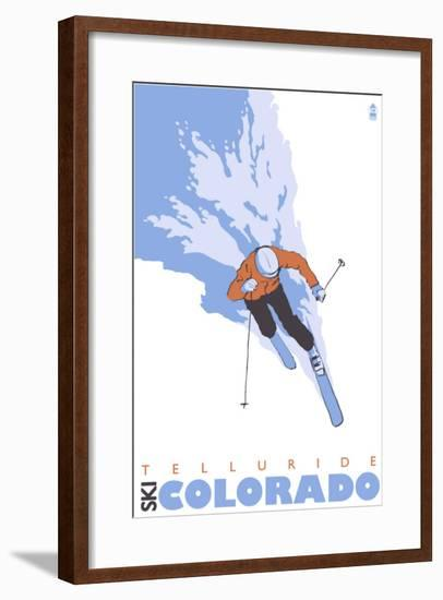 Telluride, Colorado, Stylized Skier-Lantern Press-Framed Art Print