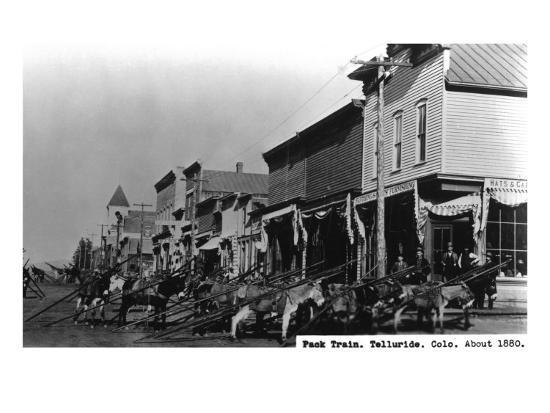 Telluride, Colorado - View of a Pack Train-Lantern Press-Art Print
