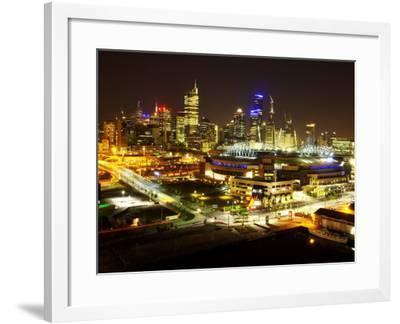 Telsta Dome and Melbourne CBD at Night, Victoria, Australia-David Wall-Framed Photographic Print