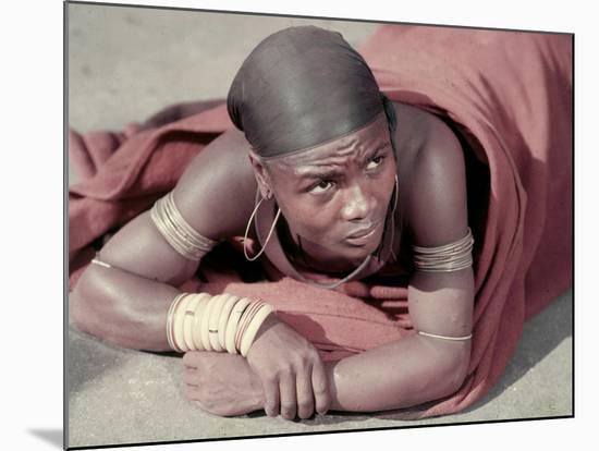 Tembu Miner Wearing Red Ochre Dyed Blanket Awaits Medial Check, Johannesburg, South Africa 1950-Margaret Bourke-White-Mounted Premium Photographic Print