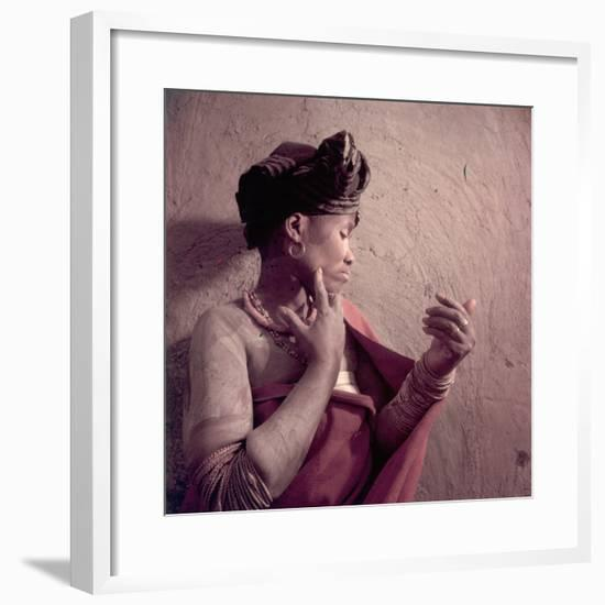 Tembu Tribeswoman Applies Make-Up Made from Raw Ochre, Trankeian Native Territories, Africa 1950-Margaret Bourke-White-Framed Photographic Print