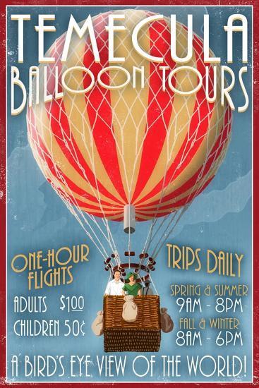 Temecula, California - Balloon Tours-Lantern Press-Art Print