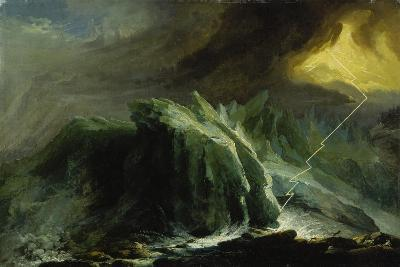 Tempest with Lightning Striking at Grindelwald Glacier-Caspar Wolf-Giclee Print