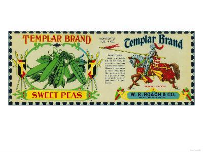 Templar Peas Label - Grand Rapids, MI-Lantern Press-Art Print
