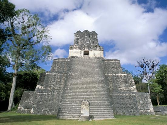 Temple 2 from the Front, Mayan Site, Tikal, Unesco World Heritage Site, Guatemala, Central America-Upperhall-Photographic Print